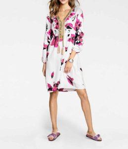Print dress, white-pink